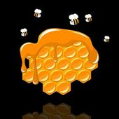 Honeycomb with a bee — Vector de stock