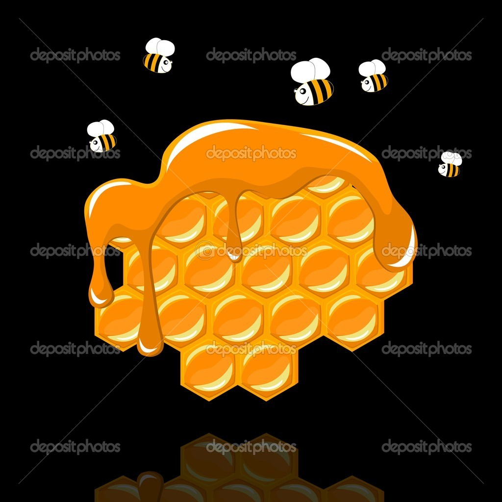 Honeycomb with a bee on black background - vector illustration — Grafika wektorowa #11075242