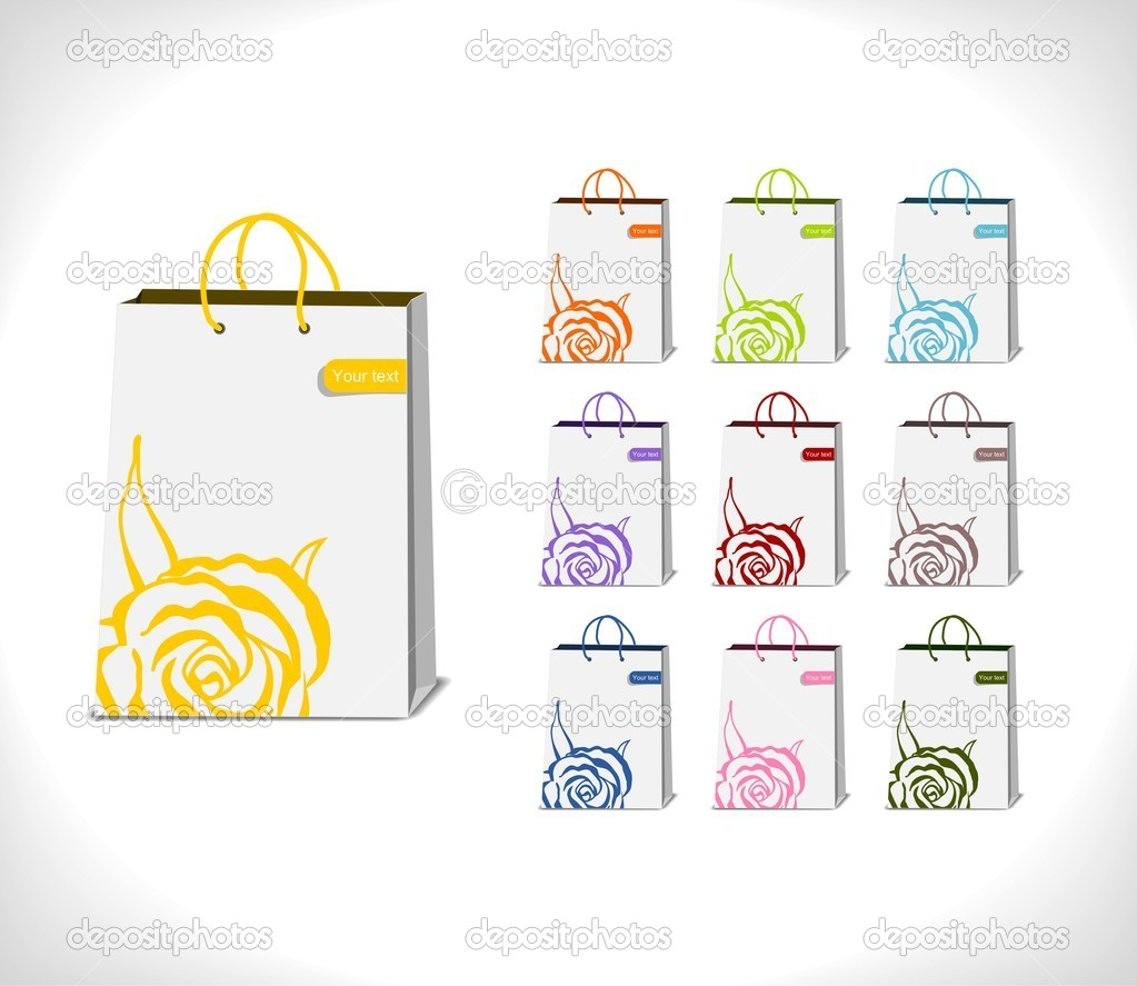 Shopping bags decorated with abstract rose in various colorful variations - vector illustration — Stock Vector #11342241