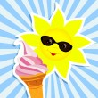 Sun with pink ice cream - Stock Vector