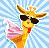 Funny girafe rose crème glacée — Vecteur