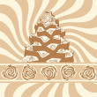 Gingerbread christmas tree on background with brown swirl — Stock Vector