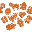 Vector collection of 11 isolated christmas gingerbread - Stock Vector