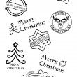 Prints of stamps with christmas motives - Stock Vector