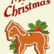 Illustrated christmas card with gingerbread horse - Stock Vector