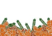 Decorated gingerbread and green branches on white background - v — Stock Vector