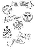 Prints of stamps with christmas motives — Stock Vector