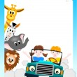 Children in  car with animals - Stock Vector