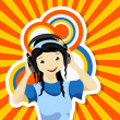 Asian girl with headphones - Stock Vector