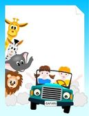 Children in car with animals — Stock Vector