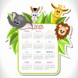 Calendar 2013 with animals — Stock Vector