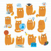 Cute Cats Studing School Subjects — Stock Vector