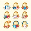 Design Elements - Set Of Social Icons — Wektor stockowy #11164564
