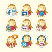 Ontwerpelementen - set van sociale pictogrammen — Stockvector