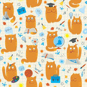 Seamless Pattern - Cats Studing School Subjects — Stock Vector