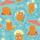Seamless Pattern - Summer Cats - Summer Cats — Stock Vector