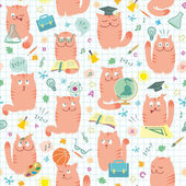 Seamless Pattern - Pink Cats And School — Stock Vector
