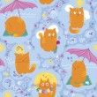 Seamless Pattern - Cats And Summer Vacation — Stock Vector
