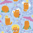 Stock Vector: Seamless Pattern - Cats And Summer Vacation