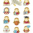 Stock Vector: School Girl Icons