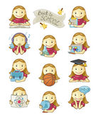 School Girl Icons — Stock Vector