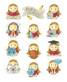 School Girl Icons — Stock Vector