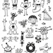 Stock Vector: Cute Unusual Black And White Monsters