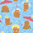 Seamless Pattern - Cute Summer Cats — Stock Vector