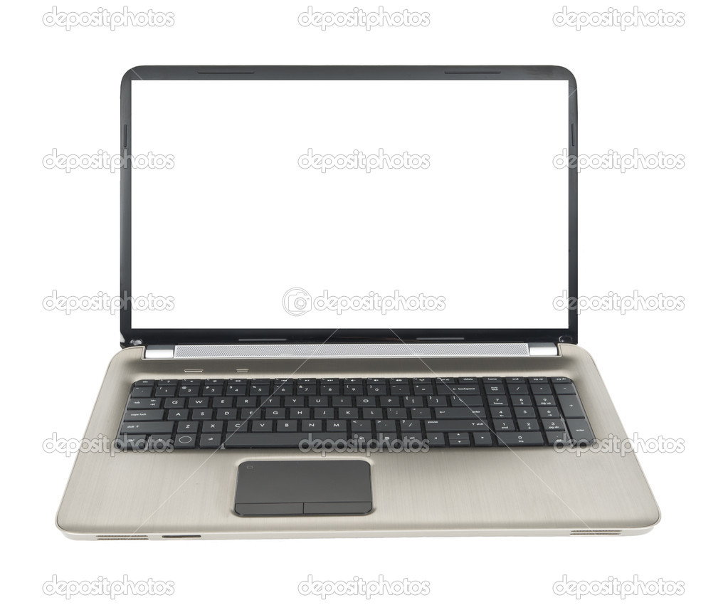 Laptop with white screen for copy — Stock Photo #11575520