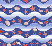 Seamless pattern with waves, stars, jellyfish and seashells — Stock Vector
