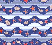 Dalgalar, yıldız, denizanası ve kabukları ile seamless modeli — Stok Vektör