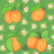 Seamless pattern with apricots - Stock Vector