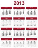 Red 2013 calendar — Stock Photo
