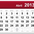 Stock Vector: Spanish version of April 2013 calendar