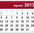 Spanish version of August 2013 calendar — Stock Vector