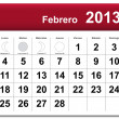 Spanish version of February 2013 calendar - Stock Vector