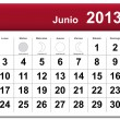 Spanish version of June 2013 calendar — Stock Vector