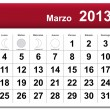 Spanish version of March 2013 calendar — Stock Vector