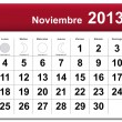 Spanish version of November 2013 calendar - Stock Vector