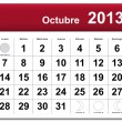 Spanish version of October 2013 calendar - Stock Vector