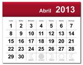 Nisan 2013 ün i̇spanyolca sürümü takvim — Stok Vektör