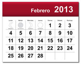 Spanish version of February 2013 calendar — Stock Vector