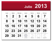 Spanish version of July 2013 calenda — Stock Vector