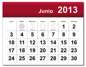 Spanish version of June 2013 calendar — Stock Vector