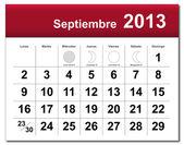 Versión en español del septiembre de 2013 calendario — Vector de stock
