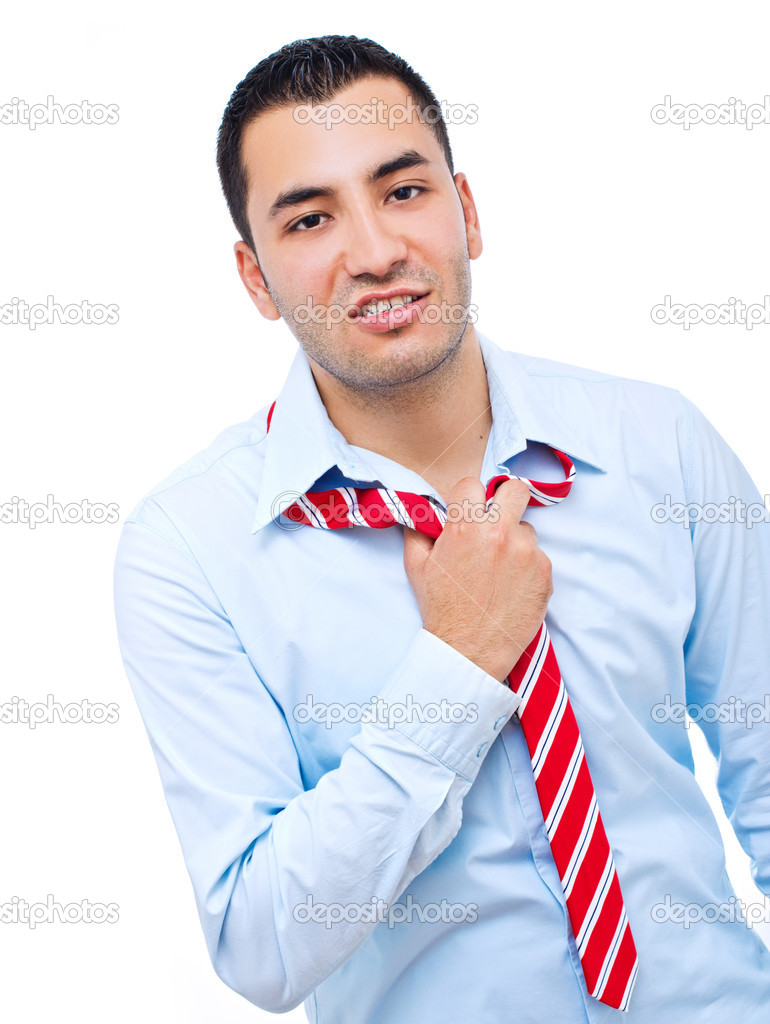 Businessman in distress on a white background — Stock Photo #11492627