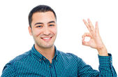 Happy smiling businessman with thumbs up gesture, isolated on wh — Stock Photo