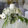 A photo of table setting for a wedding or dinner event, with flowers — Stock Photo
