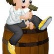 Boy on a barrel - Stock Vector