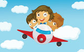 Kids on a plane — Stock Vector